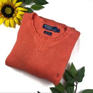 Polo Ralph Lauren Orange Chunky Knit Pony Sweater